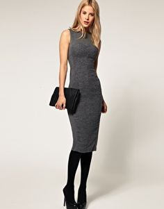 ASOS Pencil Dress with Boucle Panel