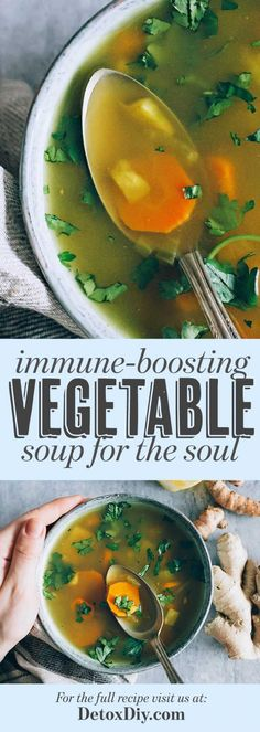 Immune-Boosting Vegetable Soup for the Soul - Detox DIY Vegetable Broth Soup, Vegetable Soup Recipes, Healthy Soup Recipes, Detox Recipes, Whole Food Recipes, Cooking Recipes, Healthy Vegtable Soup, Brothy Soup Recipes, Winter Vegetable Soup
