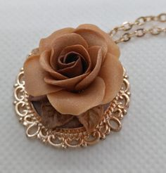 Polymer Clay Rose necklace- neutral rose gold by NadoandLola on Etsy