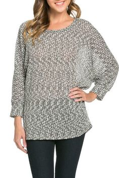 Marled Dolman Top | Bring modern style to your casual wardrobe with this marled dolman top.  Scoop neck.  3/4-length dolman sleeves.  87% Polyester/10% Rayon/3% Spandex.  Sizes S-XL. Made in the USA. | Willy & Babbish Boutique | New Baltimore, MI