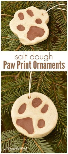 Include your pets in your Christmas celebrations and traditions by making salt dough paw print ornaments for your Christmas tree. #ad #ToPetsWithLove