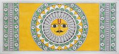 Shop Madhubani Painting - Sungod With Kalamkari Details by Kalakruti online… Madhubani Art, Madhubani Painting, Manchester Tan, Indian Folk Art, Indian Ethnic, Interior Paint Colors, Interior Painting, Pallet Painting, Living Room Paint