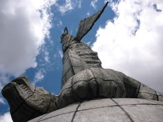"""""""El Panecillo"""" is a natural elevation of meters above sea level, nestled in the heart of the city of Quito (Ecuador). Its location has become the most important natural view of the city, from. Quito Ecuador, Sea Level, Natural, Statue Of Liberty, City, Travel, Dinner Roll, Ecuador Quito, Statue Of Liberty Facts"""