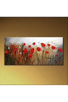 "Hand-painted Flower Oil Painting with Stretched Frame-14"" x 28"" - WooVow"