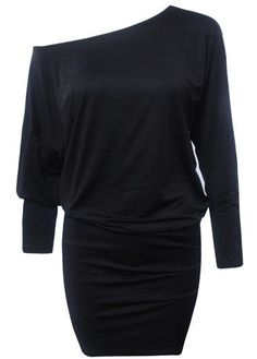 Solid Black Off the Shoulder Dolman Sleeve Mini Dress : lulugal Sexy Summer Dresses, Cute Dresses, Casual Dresses, Dresses With Sleeves, Sexy Dresses, Party Dresses, Look Fashion, Autumn Fashion, Fashion Images