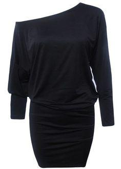 Solid Black Off the Shoulder Dolman Sleeve Mini Dress