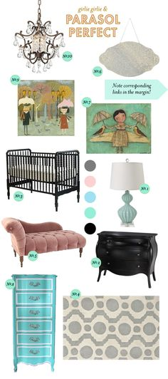 Parasol-Perfect Baby Girl Nursery Inspiration Board (might go with the cherry blossom theme?) but I love this site.