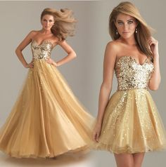 Price:$98.00 color:gold  Material: Chiffon  Attractive Sexy Straps Golden shiny Sequins Prom Dress