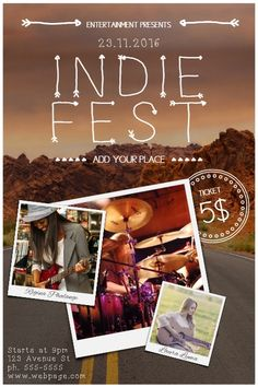 Indie Rock Hipster Contncert Event Flyer Template  Postermywall
