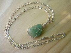 Mossy Green Wire Wrapped Agate Romantic Pendant with by Banba, $45.00