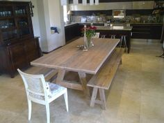 Rustic Oregon Pine Table with Benches Pine Table, Cape Town South Africa, Solid Wood Table, Flat Ideas, Wooden Furniture, Dining Table, Woodworking, Rustic, Benches