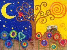 Diptico de la noche y el día con un búho,una bici, muchas flores y una furgoneta hippy con un secretillo que puedes ver en mi Facebook http://www.facebook.com/cuadritos.decolores.7  Www.Miscuadritosdecolores.Blogspot.Com