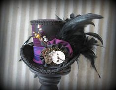 Purple and Black Mini Top Hat Mad hatter Hat Alice in by ChikiBird, $65.00