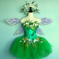 Fairy Costume - adult size 10 to 12 - corset top with faerie skirt wings and & Fairy Costume Corset - Woodland Fairy Costume Top - Earth Faerie ...