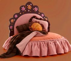 Pink and orange tiara pet bed with rhinestone flower by Judio9