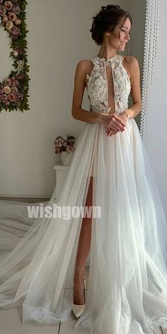 White tulle lace long prom dress, evening dress,sexy wedding dresses with Slit Wedding Dress, Sexy Wedding Dresses, Bridal Dresses, Sexy Dresses, Bridesmaid Gowns, Tulle Lace, Tulle Dress, White Tulle, White Lace