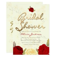 Bright Red & Ivory Floral Bridal Shower Invitation