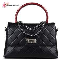 2016 Women's Genuine Leather Top-handle Satchel Handbags Famous Brands Designer Bags Purses Ladies Totes Messenger Bags Black