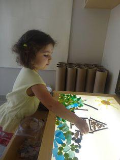 Extraordinary Classroom: A Beautiful House I love the open-ended materials being used with the light table as an artist's canvas! Sea glass on light table with r mirror Reggio Inspired Classrooms, Reggio Classroom, Reggio Emilia, Licht Box, Light Board, Inspired Learning, Sensory Table, Creative Play, Early Learning