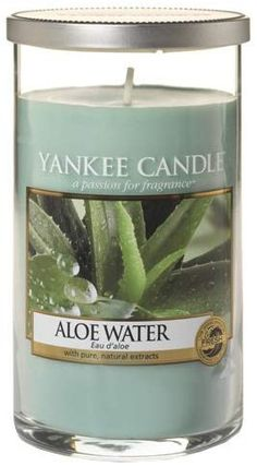 Yankee Candle Aloe Water Medium Pillar Candle Green Clean, refreshing water blends with thick, soothing aloe to create a wonderfully relaxing fragrance experience. For the perfect décor! Perfect pillars enhance any décor – classic to contemporary – with the ideal combination of height, color, and true Yankee candle fragrance in a clean glass design. #Yankees_gift_ideas #decorative_candles #candle_parties #aloe_gel_uses #water_tips
