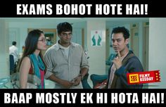 Exams bohot hote hai 3 Idiots Dialogues We are sharing Funny 3 Idiots Dialogues Meme Bollywood Dialogues Meme By Filmy Keeday