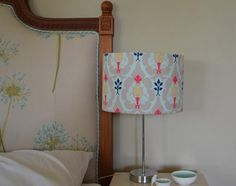 Pink and aqua lampshade - such an elegant fabric print!
