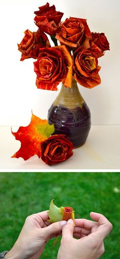 'i do' it yourself: diy autumn leaf flowers This decor is absolutely charming! DIY fall or thanksgiving decor Fall Wedding Bouquets, Fall Wedding Decorations, Wedding Ideas, Diy Projects For Fall, Autumn Leaves Craft, Fall Leaves, How To Make Rose, Thanksgiving Crafts For Kids, Leaf Crafts