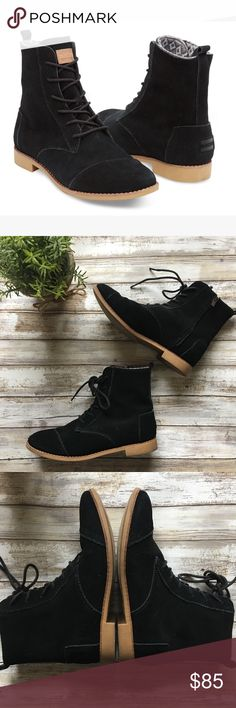 Toms Black Suede Alpa Boots Adorable black water resistant suede boots from Toms! Only worn a couple of times - see pics for condition! No rips or scuffs. Fits a size 8.5. Toms Shoes Ankle Boots & Booties