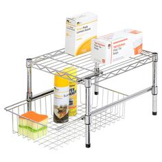 An essential addition to your kitchen or walk-in pantry this chrome-finished organizer shelf features an adjustable design and a slide-out bottom storage bas...