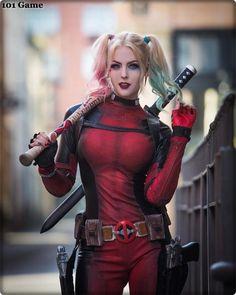 Harley Quinn from DC Comics (Deadpool Version) cosplay by Maid of Might Cosplay Deadpool Cosplay, Lady Deadpool, Cosplay Marvel, Harley Quinn Cosplay, Deadpool Halloween, Deadpool Art, Superhero Cosplay, Dc Cosplay, Amazing Cosplay