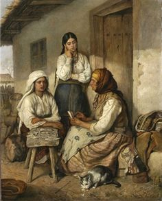 Two young women with a fortune teller c. 1881 by Emanoil Panaiteanu-Bardasar (Romanian, 1850-1935)