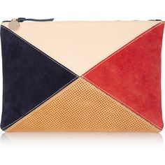 Clare V Color-block leather and suede clutch (385 CAD) ❤ liked on Polyvore featuring bags, handbags, clutches, blue, perforated leather handbag, suede handbags, blue leather purse, colorblock handbags and leather patchwork purse