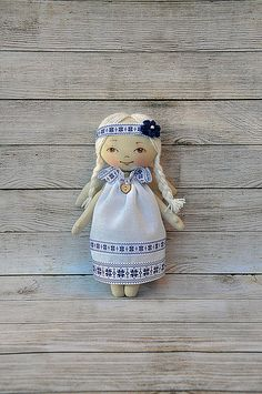 :: Crafty :: Cloth Doll :: 2 :: Ukrainian talisman,textile Angel, Angel textile doll , Rag doll handmade Angel is sewn of natural cotton. 8 inches.