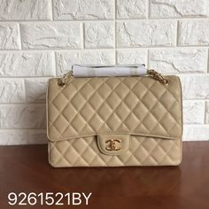 Chanel classic flap bag caviar beige gold jumbo size