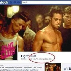 Looks like 72,746 people forgot the first rule of fight club... Fight Club Rules, 9 Gag, Forget, Best Funny Pictures, Superhero, Memes, Humor, Movie Posters, Random Stuff