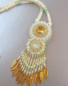 Free Shipping, Bead Embroidery, Necklace,  Statement jewelry, Swarovski necklace,  Seed bead necklace , Mint, Gold, Beige