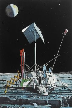 Vintage National Geographic illustration of a NASA Surveyor probe on the surface of the Moon. Home Security Camera Systems, Security Cameras For Home, Outer Space Crafts, Space Matters, Mind Benders, Space Illustration, Illustrations, Vintage Space, Graphic Design Posters