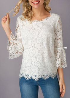 Lace on lace! Obsessed with the romantic Flare Sleeve White Eyelash Lace Blouse. Trendy Tops For Women, Blouses For Women, Blouse Styles, Blouse Designs, Sewing Blouses, Women's Blouses, Dress Outfits, Fashion Dresses, Blouse And Skirt