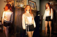 Vintage 70s hotpants body suit and vest medium choc brown ivory satin by SashaShoppe on Etsy