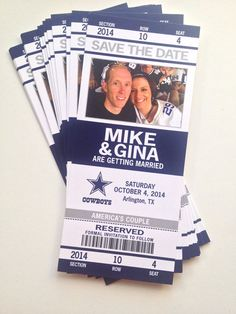 Football Wedding Save the Date Ticket / by papercakedesigns, $38.00