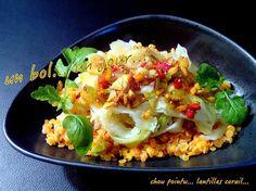 une nouvelle recette avec du chou pointu... dans l'esprit cuisine indienne... dans mon bol, aujourd'hui... 1/4 de chou pointu lavé et coupé en lanières des lentilles corail 1 CS d'huile d'olive 2 gousses d'ail nouveau pelées et ciselées 1/2 cc de menus...