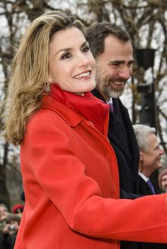 Queen Letizia of Spain and King Felipe VI of Spain say greet supporters at Schloss Bellevue, Presidential Pallace, on December 1, 2014 in Berlin, Germany.