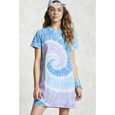 Forever21 Tie-Dye T-Shirt Dress ($16) ❤ liked on Polyvore featuring dresses, tee shirt dress, short sleeve t shirt dress, forever 21, tie-dye dresses and tye dye dress