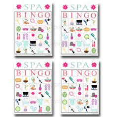 Spa Bingo Printable Game Girls Party Game by TidyLadyPrintables
