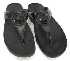 Fitflop 8 Black Patent Walkstar 3 Toning 39 EU Sandals Flip Flop Thong 029-001…