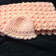 Pink Baby Blanket and Hat by PapyrRags on Etsy