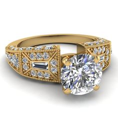 Round Cut Diamond Engagement Rings With White Diamond In 18K Yellow Gold   Victorian Vintage Ring   Fascinating Diamonds