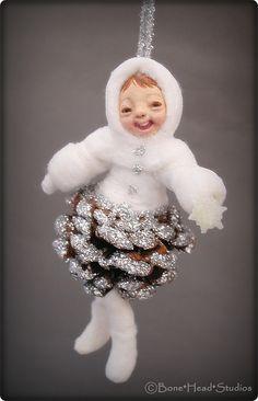 pine cone baby    Spun cotton ornament