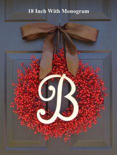 Berry Wreath Etsy Fall Wreath- Monogram Wreath- Christmas Wreath- Winter Holiday Wreath- Valentine's Day Decor- WEATHERPROOF Berries