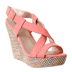 #Coral Woven #Wedges #Shoes